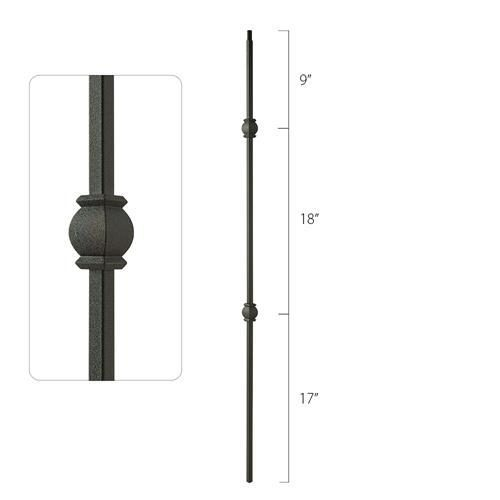 Steel Tube Spindles - 1/2 in. Square Series With Dowel Top - Double Collar (Discount Metal Balusters America)
