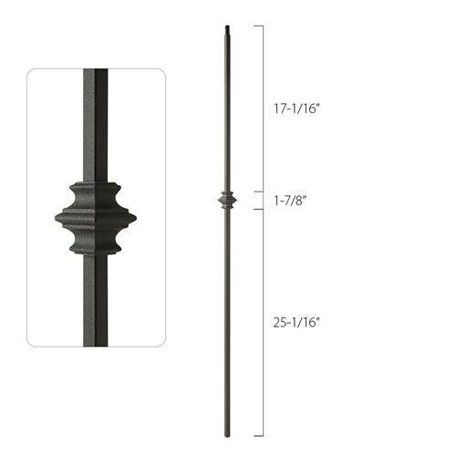 Steel Tube Spindles - 1/2 in. Square Series With Dowel Top - Single Collar (Discount Metal Balusters America)