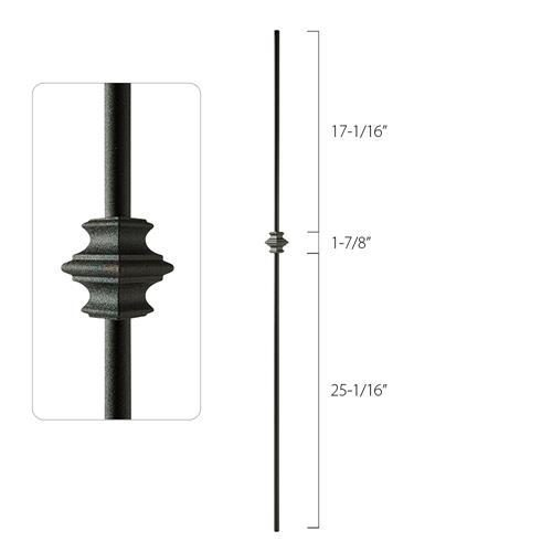 Steel Tube Spindles - 1/2 in. Round Series - Single Collar (Discount Metal Balusters America)