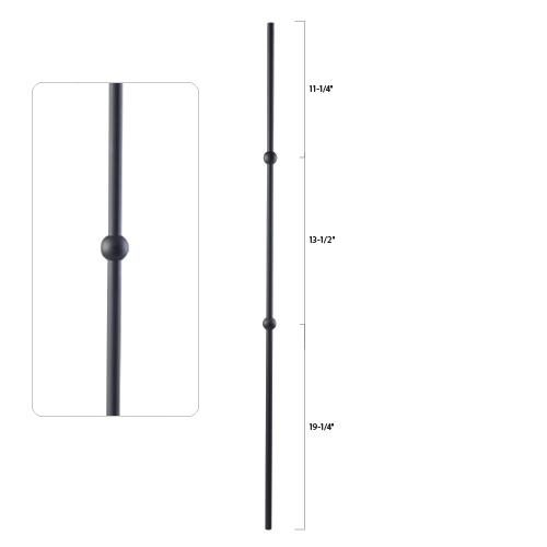 Steel Tube Spindle - 9/16 in. Round Series - Double Sphere (Discount Metal Balusters America)